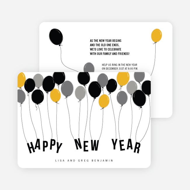 Balloon Themed New Year's Party Invitations - Gray