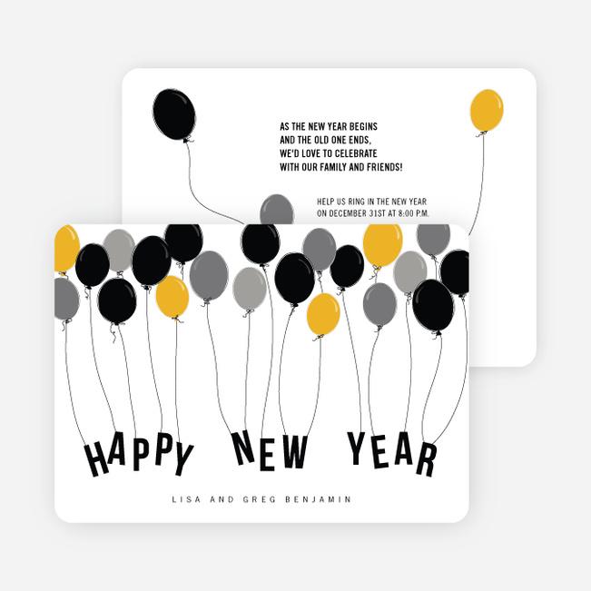 Balloon Themed New Year's Party Invitations - Gray