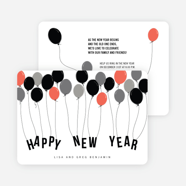 Balloon Themed New Year's Party Invitations - Red