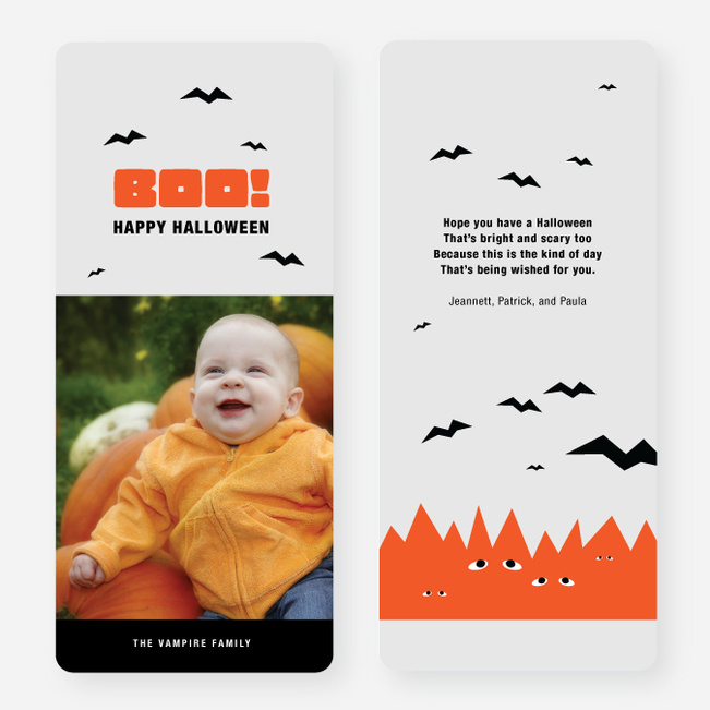 Bats, Boo, Halloween Cards - Orange