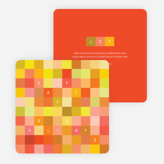 Blocks of Joy Corporate New Year's Cards - Orange