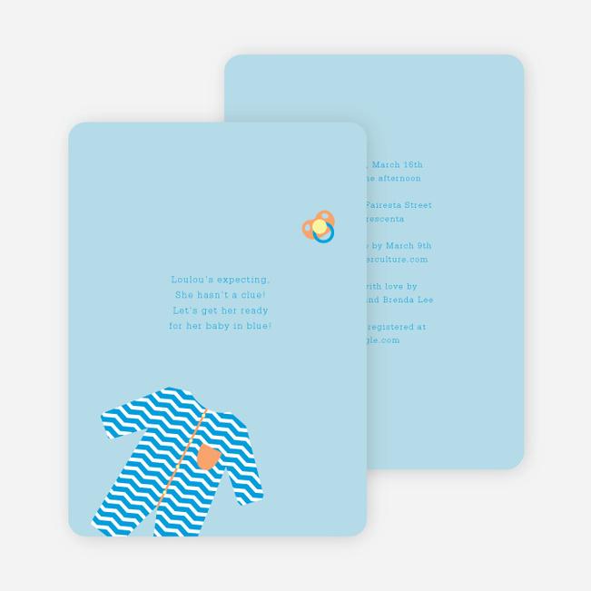 Boy Baby Onesie Baby Shower Invitations - Blue