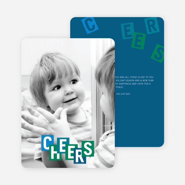 Cheers: Kids and Scrabble Holiday Cards - Blue