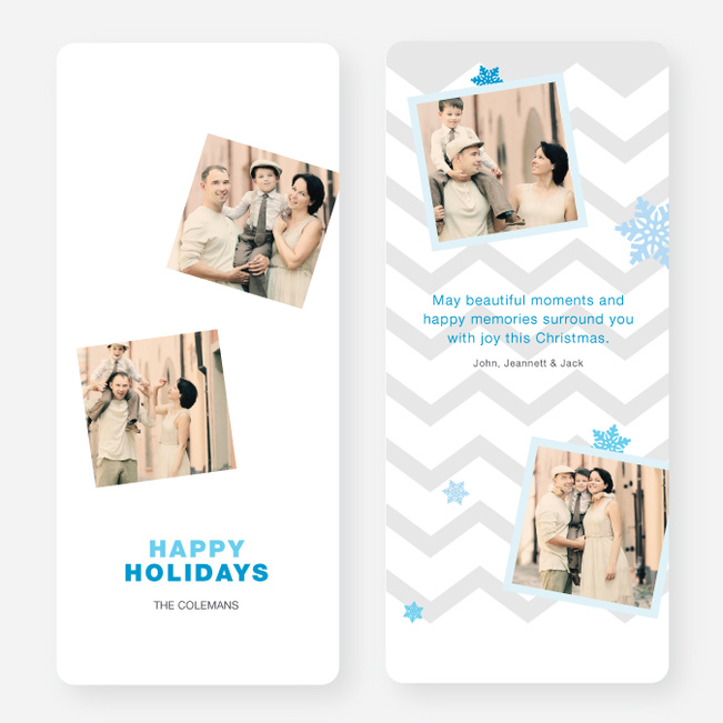 Chevron Pattern Snowflake Holiday Cards - Blue