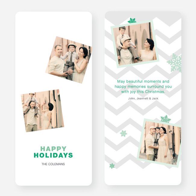 Chevron Pattern Snowflake Holiday Cards - Green