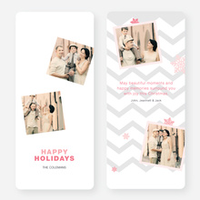 Chevron Pattern Snowflake Holiday Cards - Red