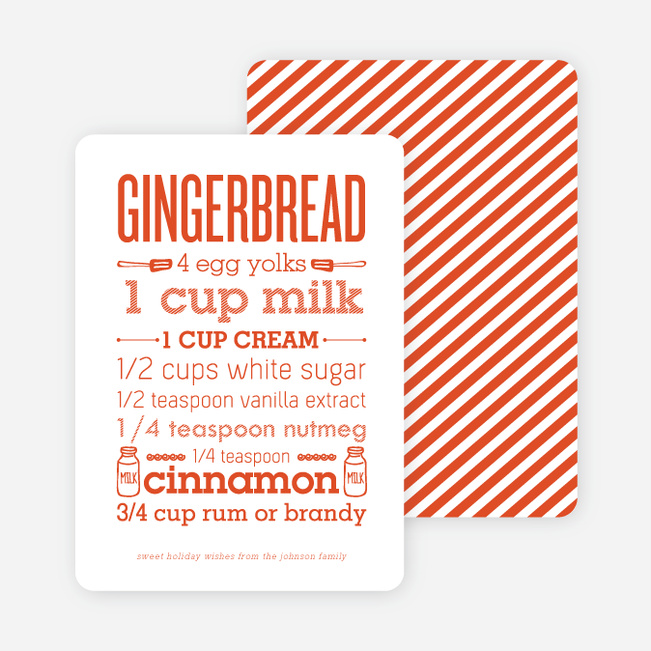 Gingerbread Holiday Recipe Cards - Orange