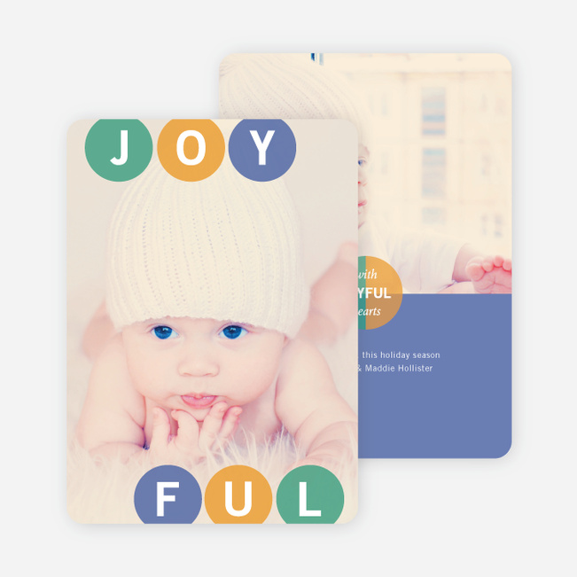 Holiday Photo Cards: Joyful Ornaments - Blue