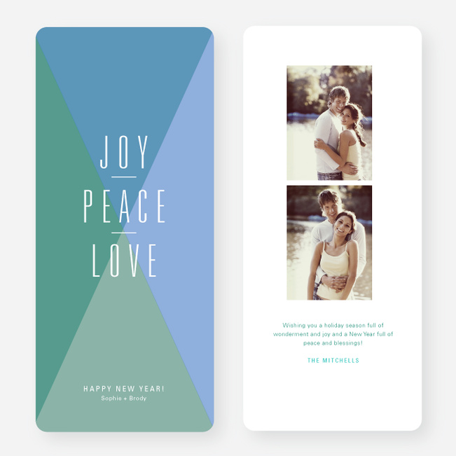 Joy, Peace, Love Portrait New Year's Cards - Green