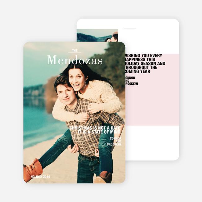 Modern Blocks Holiday Card - Pink