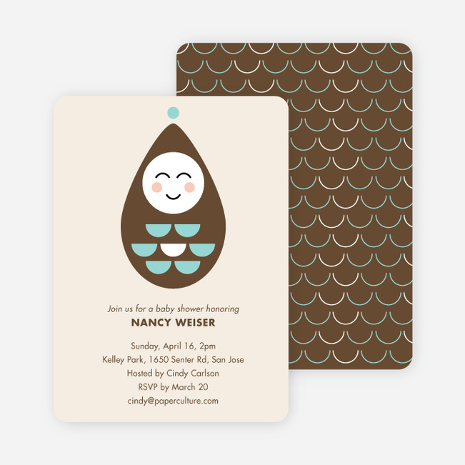 Modern Pea in the Pod Baby Shower Invitations - Brown