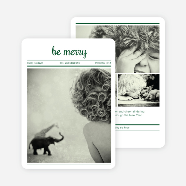 Newspaper: Be Merry Holiday Cards - Green
