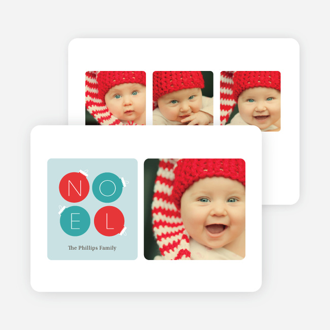 Noel Ornaments Christmas Photo Cards - Blue