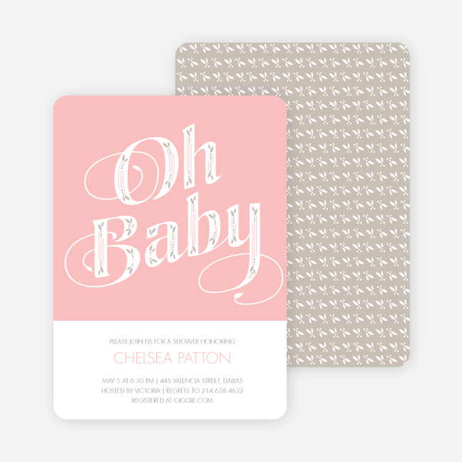 Oh Baby Shower Invitations - Pink