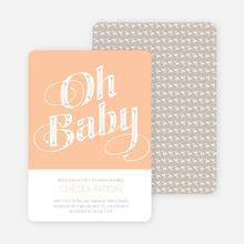 Oh Baby Shower Invitations - Orange