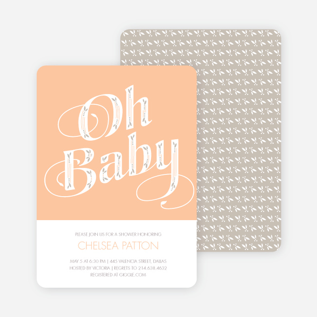 Oh Baby Shower Invitations - Orange