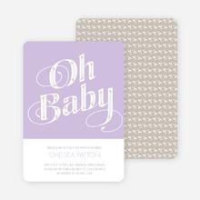 Oh Baby Shower Invitations - Purple