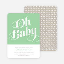 Oh Baby Shower Invitations - Green