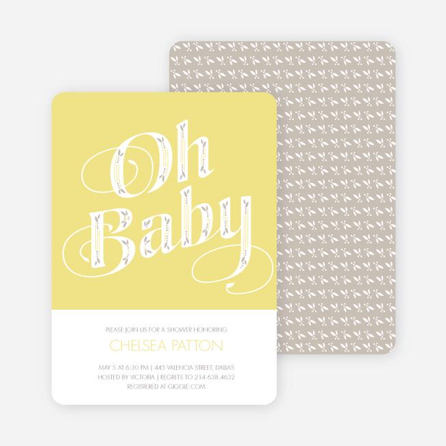 Oh Baby Shower Invitations - Yellow