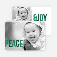 Peace & Joy Holiday Photo Cards - Green