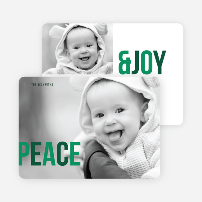 Peace & Joy Holiday Photo Cards - Green