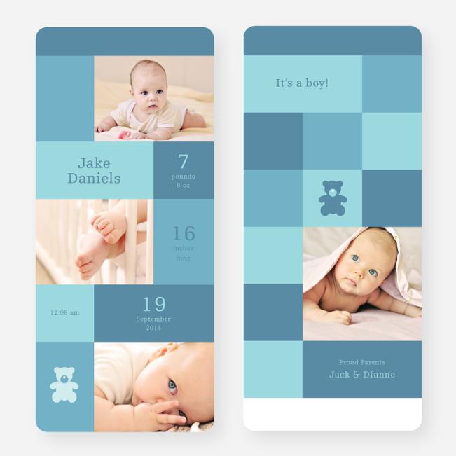 Teddy Bear Squares Birth Announcements - Blue