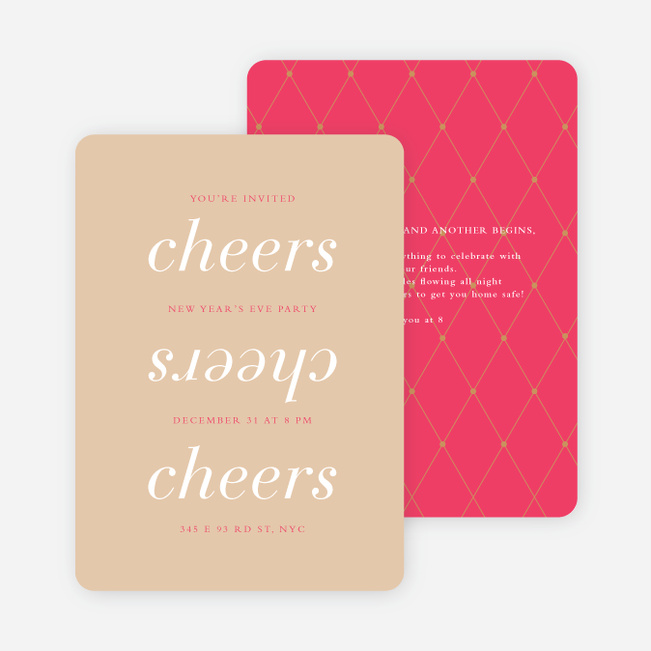 Three Cheers for the New Year Party Invitations - Pink