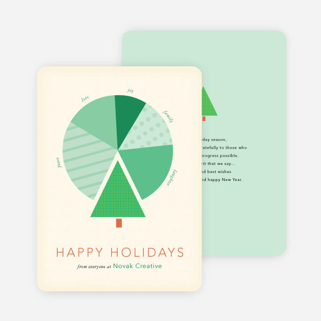Business holiday cards corporate holiday cards paper culture tree pie chart for business holiday cards green reheart Images