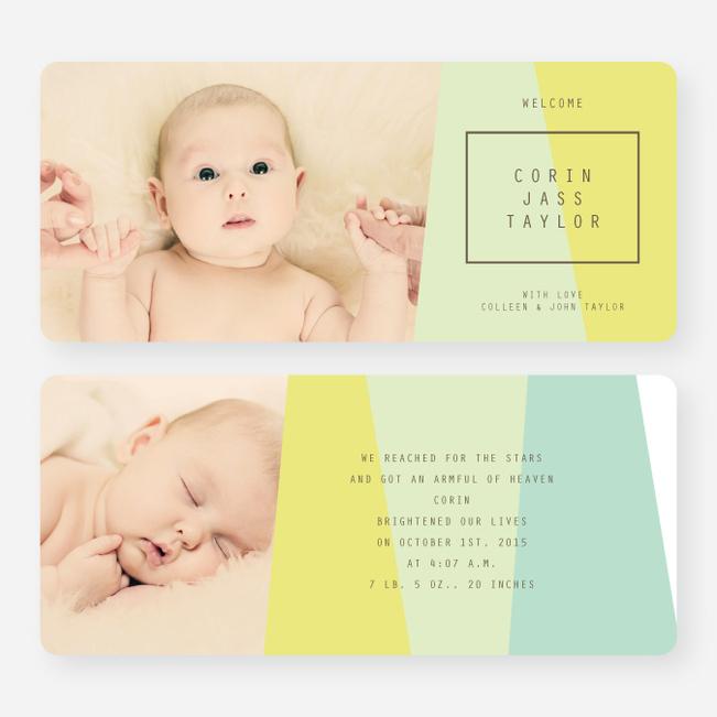 Angular Blocks Birth Announcements - Green