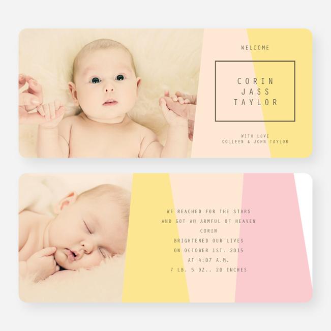 Angular Blocks Birth Announcements - Pink