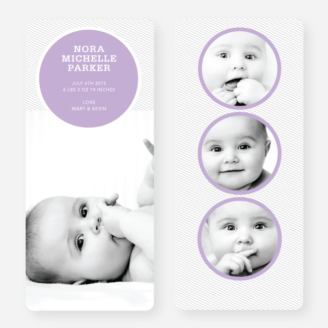 Circle Themed Birth Announcements - Purple