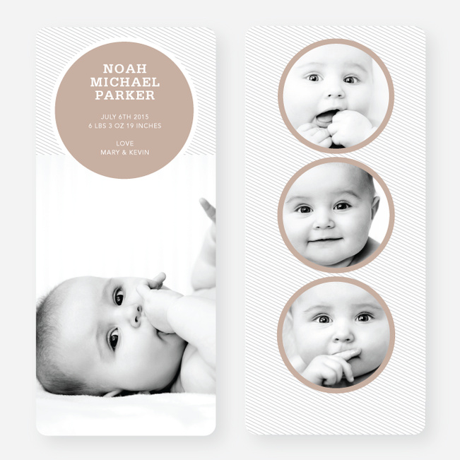 Circle Themed Birth Announcements - Brown