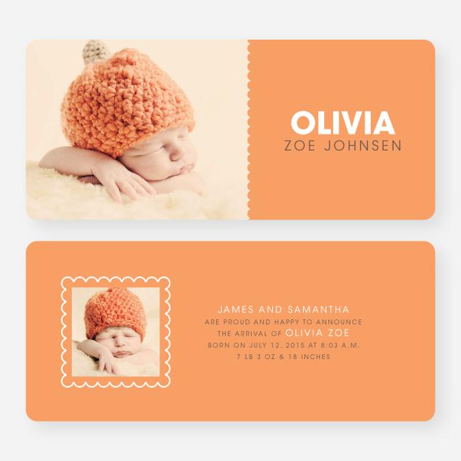 Color Block Baby Announcements - Orange