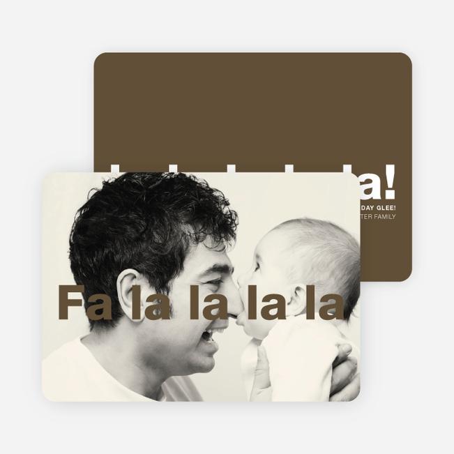 Fa-la-la-la-la: Deck the Halls or Diction Holiday Photo Cards - Brown