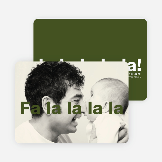 Fa-la-la-la-la: Deck the Halls or Diction Holiday Photo Cards - Green