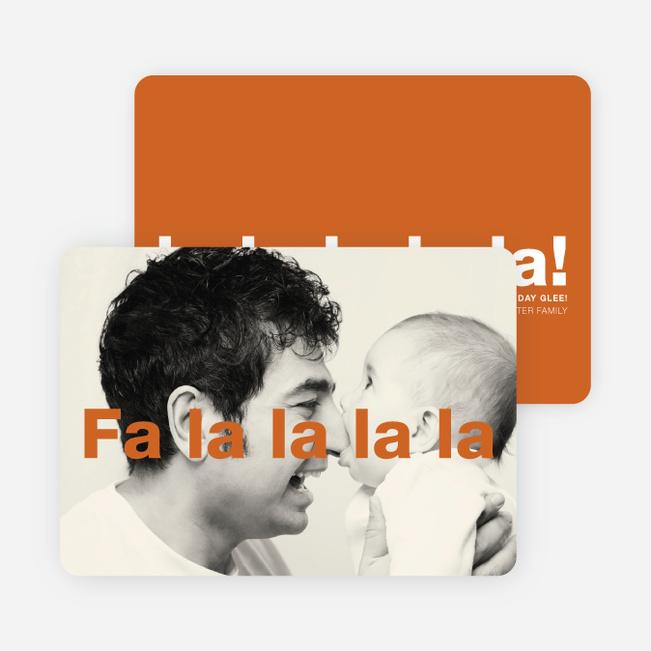 Fa-la-la-la-la: Deck the Halls or Diction Holiday Photo Cards - Orange