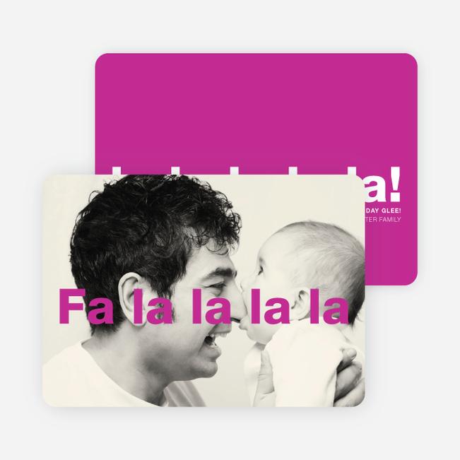 Fa-la-la-la-la: Deck the Halls or Diction Holiday Photo Cards - Pink