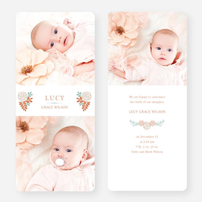 Floral Bouquet Baby Announcements - Blue
