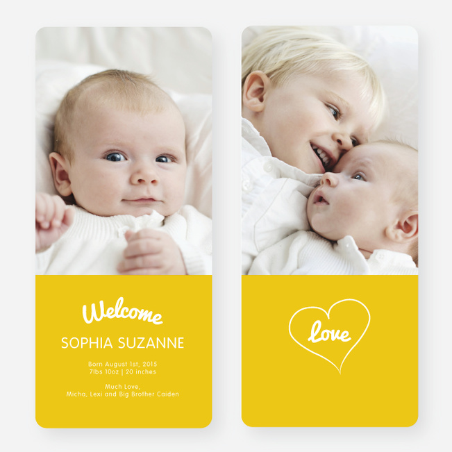 Heartstrings Birth Announcements - Yellow
