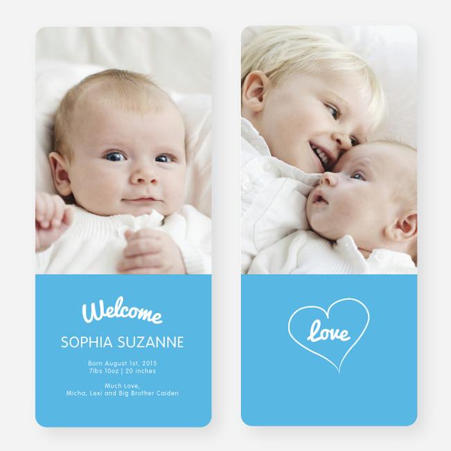 Heartstrings Birth Announcements - Blue