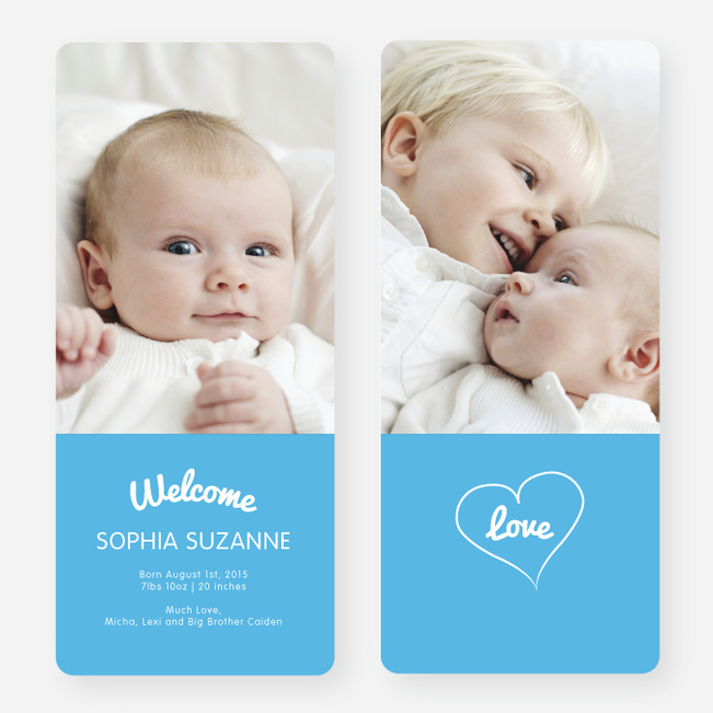Heartstrings Birth Announcements - Blue