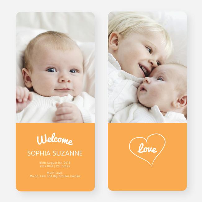 Heartstrings Birth Announcements - Orange
