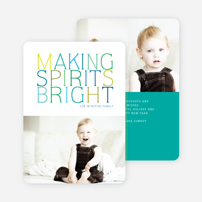 Making Spirits Bright Holiday Cards - Green