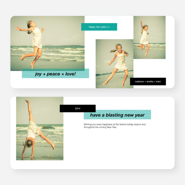 New Year's Tags Photo Cards - Blue