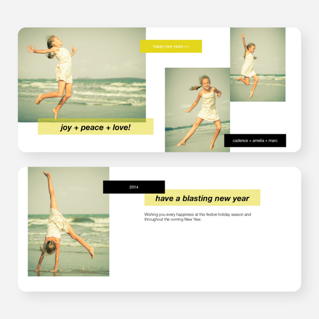 New Year's Tags Photo Cards - Yellow