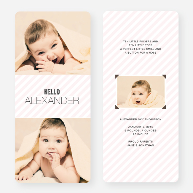 Soft Stripes Holiday Cards - Pink