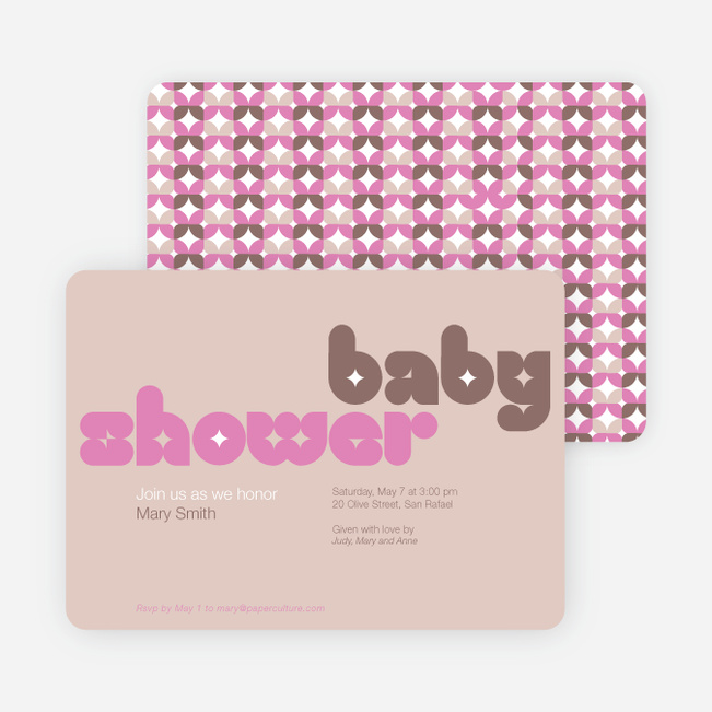 Superstar Girl Baby Shower Invitations - Beige