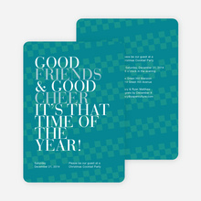 Good Friends & Good Cheer Holiday Party Invitations - Blue