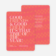 Good Friends & Good Cheer Holiday Party Invitations - Red