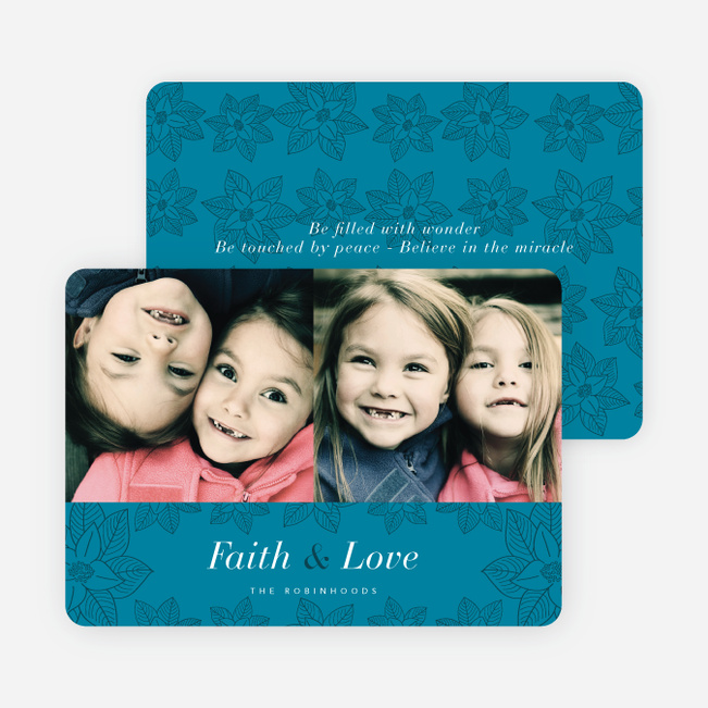Poinsettia Holiday Cards - Blue
